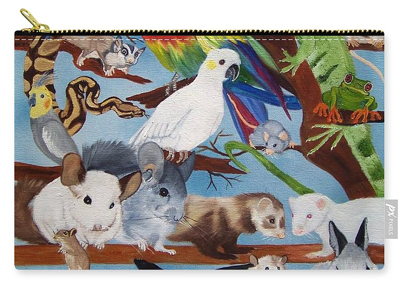 Bird Carry-all Pouch featuring the painting Pocket Pets by Debbie LaFrance