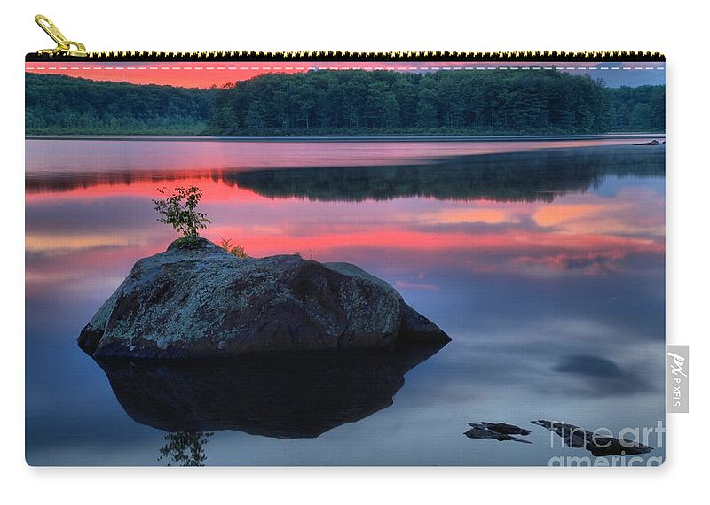 Lake Whitney Carry-all Pouch featuring the photograph Poconos Lake Whitney Sunset Silhouette by Adam Jewell
