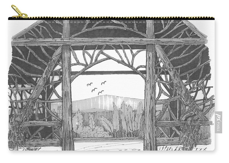 Pavilion Carry-all Pouch featuring the drawing Poet's Walk 2 by Richard Wambach