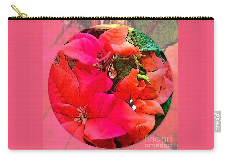 Poinsettia Carry-all Pouch featuring the photograph poinsettia Xmas Ball by Joan-Violet Stretch