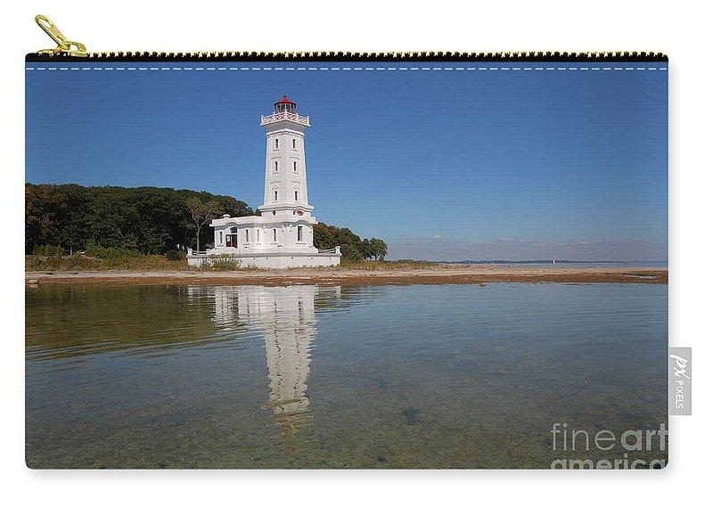 Lighthouse Carry-all Pouch featuring the photograph Point Abino Lighthouse Reflection by Darleen Stry