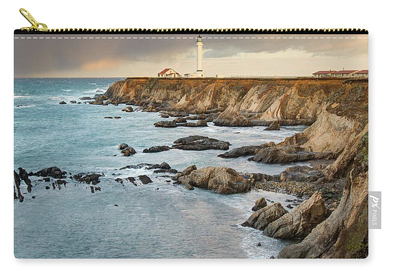 Headland Carry-all Pouch featuring the photograph Point Arena Headland And Lighthouse by Kjschoen