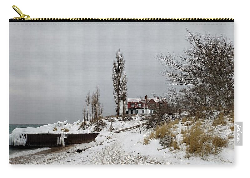 Point Betsie Carry-all Pouch featuring the photograph Point Betsie In Winter by Linda Kerkau