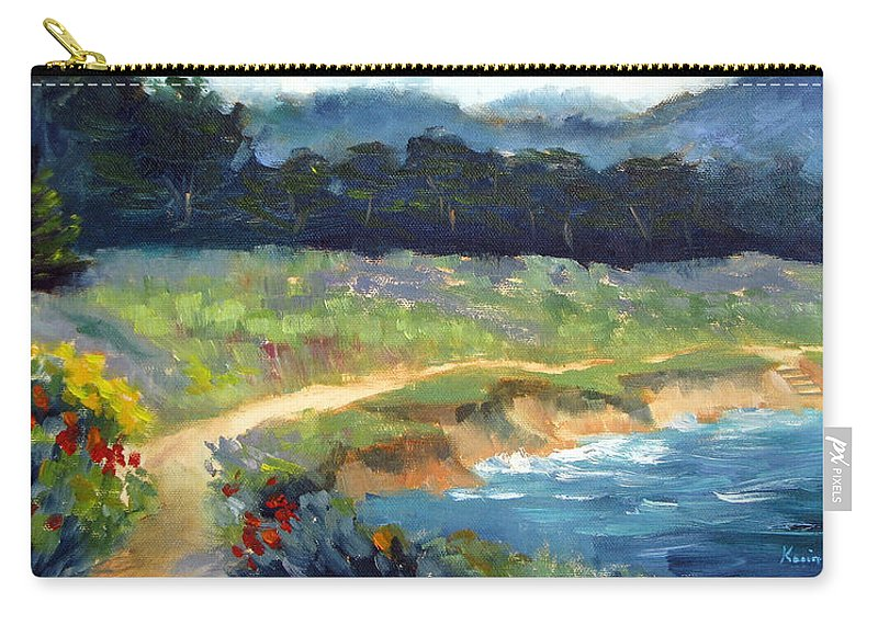 Point Lobos Carry-all Pouch featuring the painting Point Lobos Trail by Karin Leonard