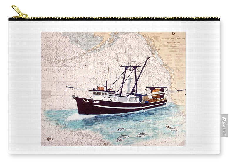 Point Carry-all Pouch featuring the painting Point Loma Trawl Fishing Boat Nautical Chart Map Art by Cathy Peek