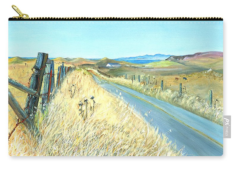Landscape Painting Carry-all Pouch featuring the painting Point Reyes Country Road by Asha Carolyn Young