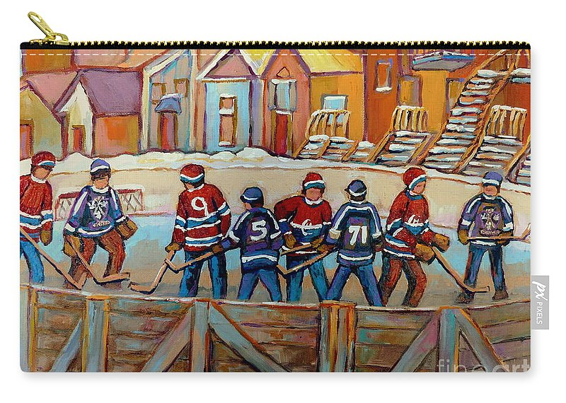 Montreal Carry-all Pouch featuring the painting Pointe St. Charles Hockey Rinks Near Row Houses Montreal Winter City Scenes by Carole Spandau