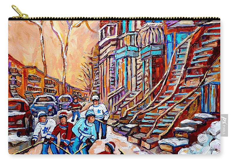 Montreal Carry-all Pouch featuring the painting Pointe St.charles Hockey Game Near Winding Staircases Montreal Winter City Scenes by Carole Spandau