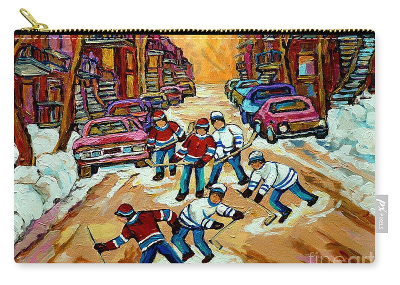 Montreal Carry-all Pouch featuring the painting Pointe St.charles Hockey Game Winter Street Scenes Paintings by Carole Spandau