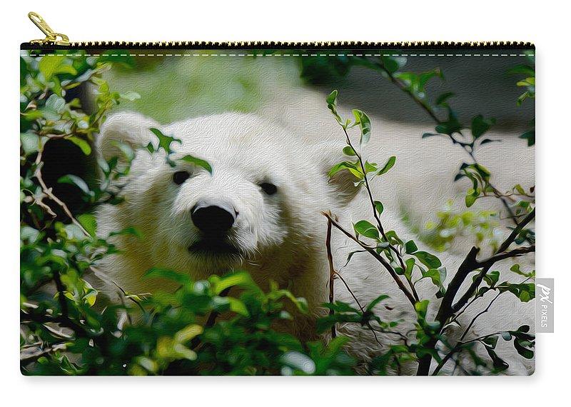 Polar Bear Cub Carry-all Pouch featuring the photograph Polar Bear Cub by Tracy Winter
