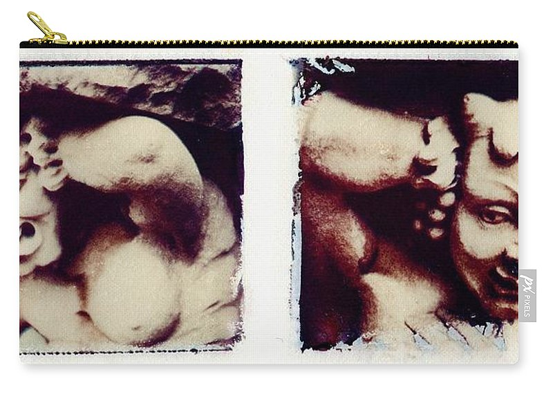 Gargoyle Carry-all Pouch featuring the photograph Polaroid transfer gargoyle by Jane Linders