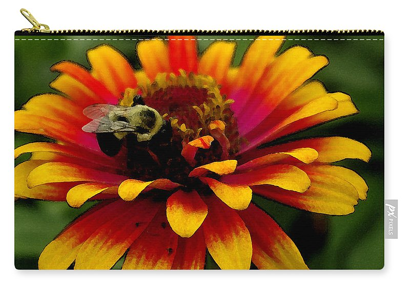 Zinnia Carry-all Pouch featuring the photograph Pollenating Bumblebee by James C Thomas