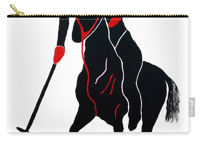 Polo Carry-all Pouch featuring the painting Polo Player by Andrew Petras