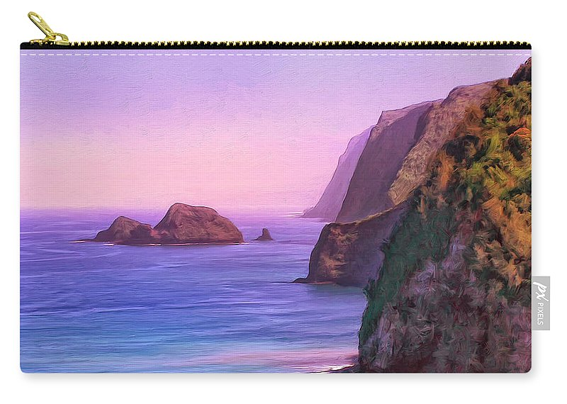 Pololu Valley Carry-all Pouch featuring the painting Pololu Valley Sunset by Dominic Piperata