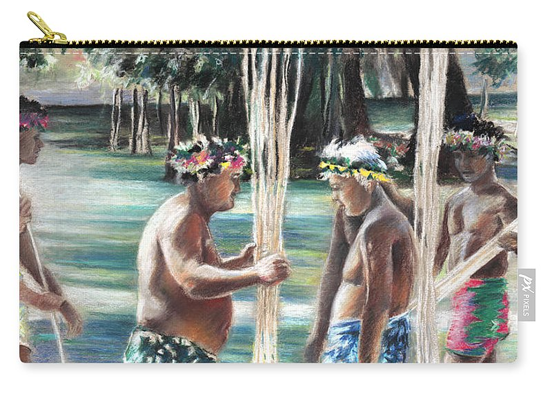 Travel Carry-all Pouch featuring the painting Polynesian Men With Spears by Miki De Goodaboom