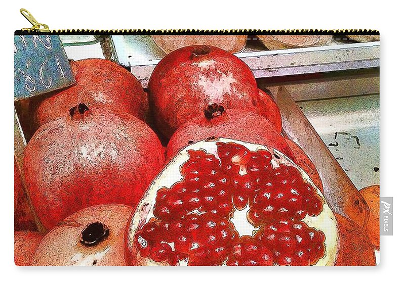 Pomegranates Carry-all Pouch featuring the photograph Pomegranates In Open Market by Lesa Fine