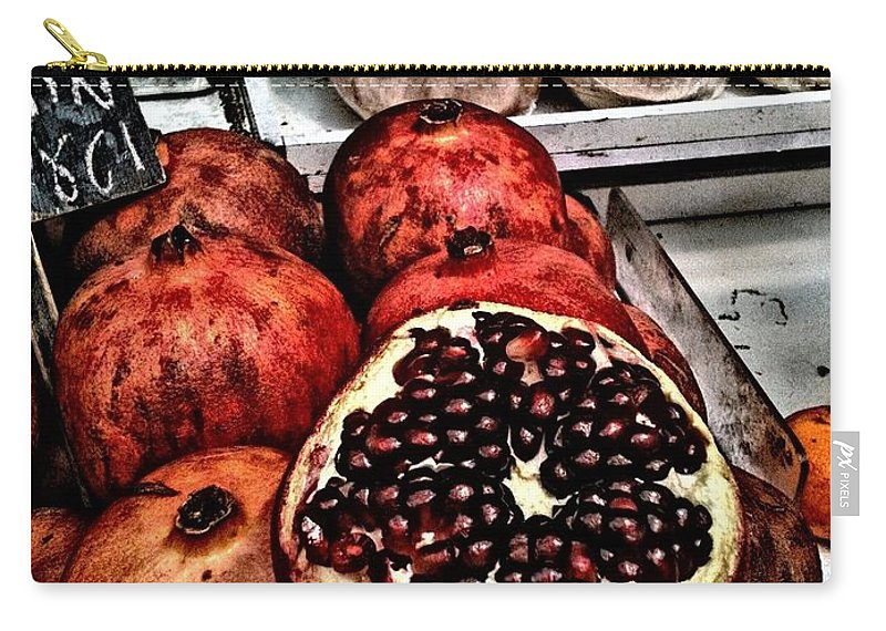 Pomegranates Carry-all Pouch featuring the mixed media Pomegranates In Open Market Art II by Lesa Fine