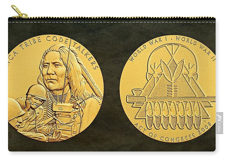 Ponca Tribe Carry-all Pouch featuring the photograph Ponca Tribe Code Talkers Bronze Medal Art by Movie Poster Prints