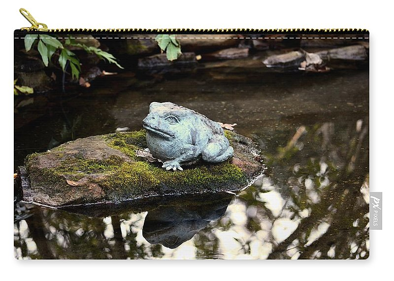 Pond Frog Statuette Carry-all Pouch featuring the photograph Pond Frog Statuette by Maria Urso