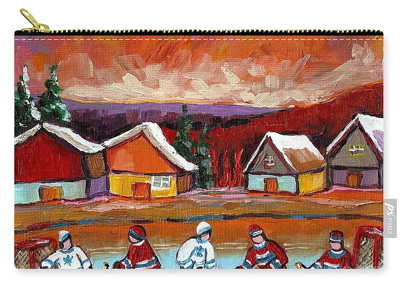 Pond Hockey Carry-all Pouch featuring the painting Pond Hockey Game 2 by Carole Spandau