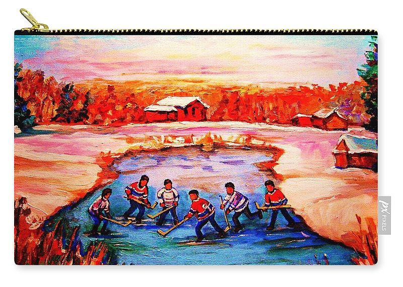 Pond Hockey Carry-all Pouch featuring the painting Pond Hockey Game By Montreal Hockey Artist Carole Spandau by Carole Spandau