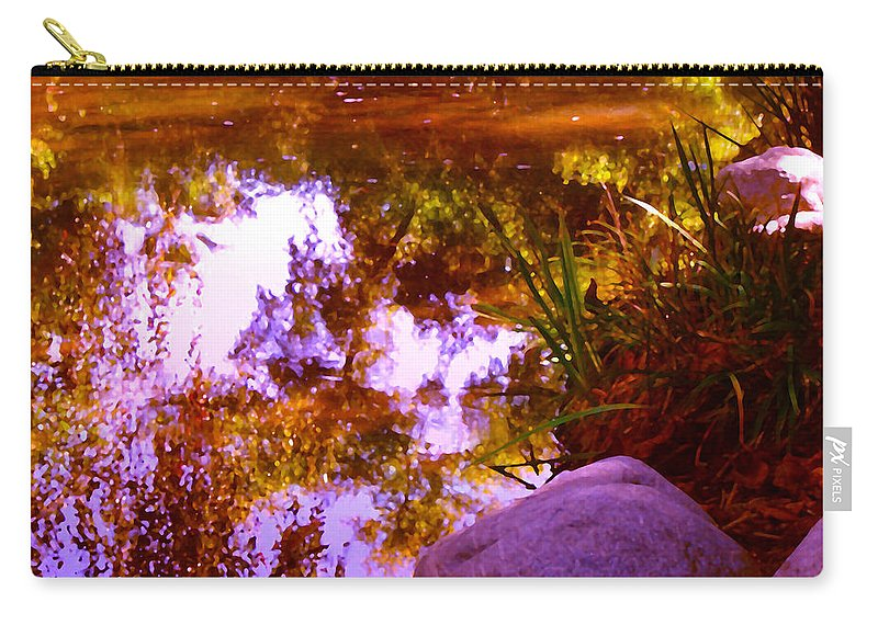 Landscapes Carry-all Pouch featuring the painting Pond Reflextions by Amy Vangsgard