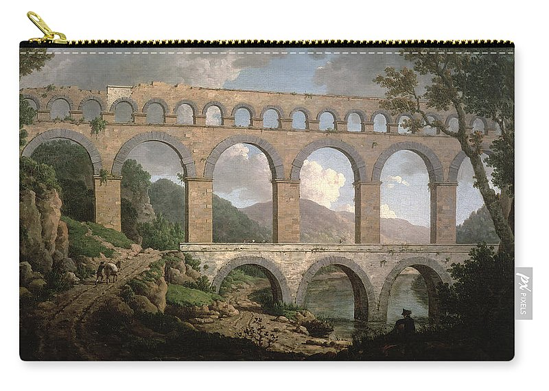 Aqueduct Carry-all Pouch featuring the painting Pont Du Gard, Nimes by William Marlow