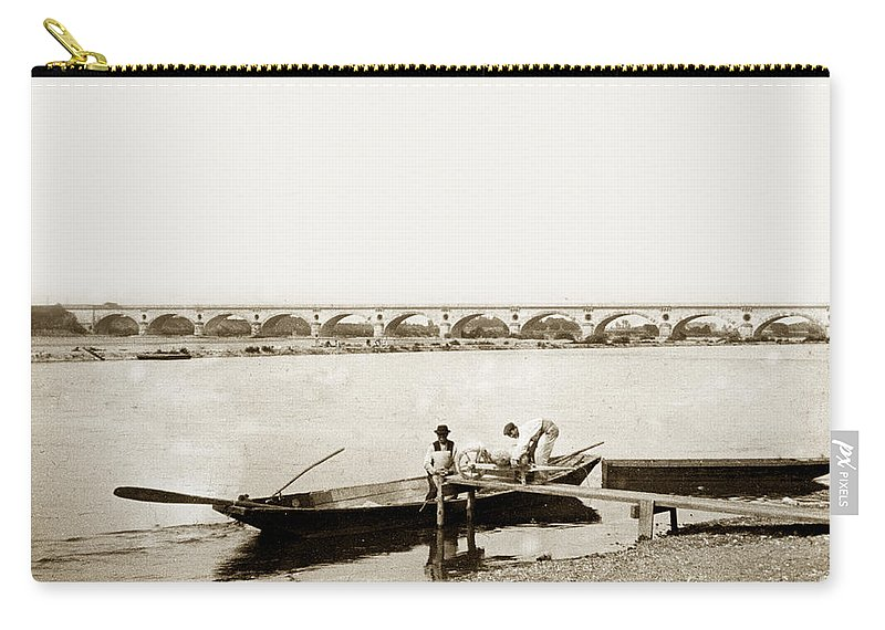 Bridge Carry-all Pouch featuring the photograph pont George V Bridge over Loire river Orleans Loire Valley France 1900 by California Views Archives Mr Pat Hathaway Archives