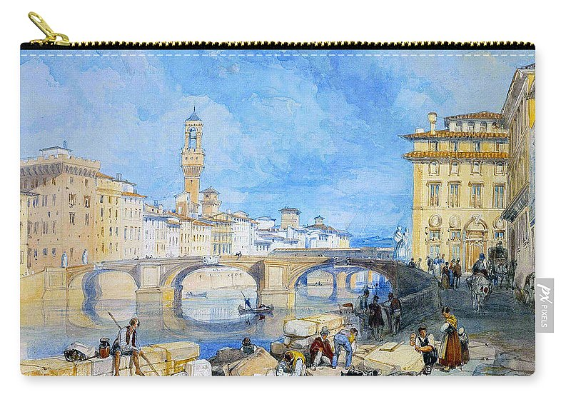James Duffield Harding Carry-all Pouch featuring the digital art Ponte Santa Trinitia Florence by James Duffield Harding