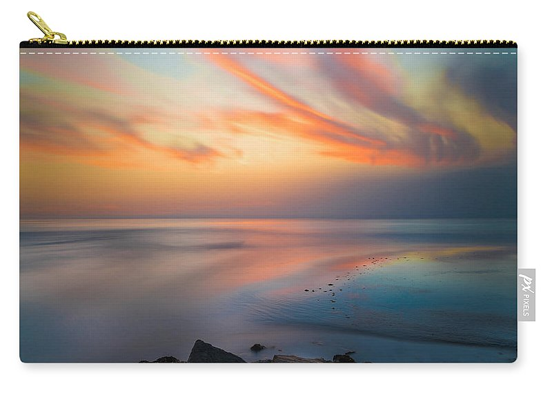 California; Long Exposure; Ocean; Reflection; San Diego; Seascape; Sunset; Surf; Clouds Carry-all Pouch featuring the photograph Ponto Jetty Sunset - Square by Larry Marshall