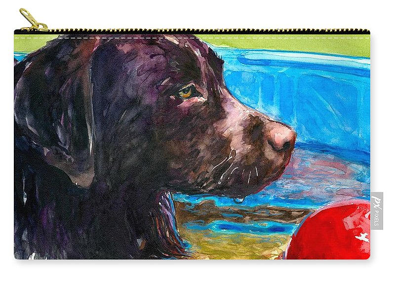 Chocolate Lab Carry-all Pouch featuring the painting Pool Party Of One by Molly Poole