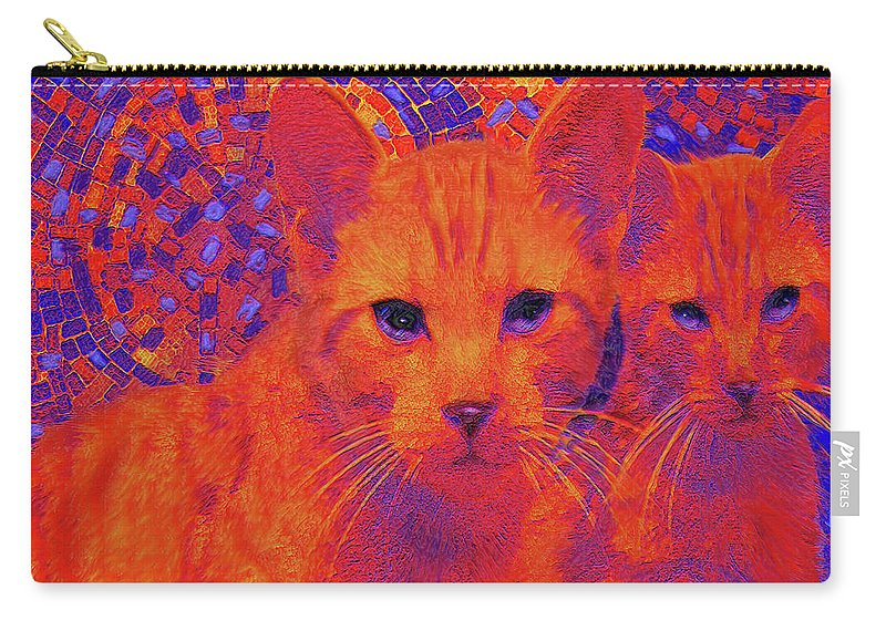 Cats Carry-all Pouch featuring the digital art Pop Art Cats by Jane Schnetlage