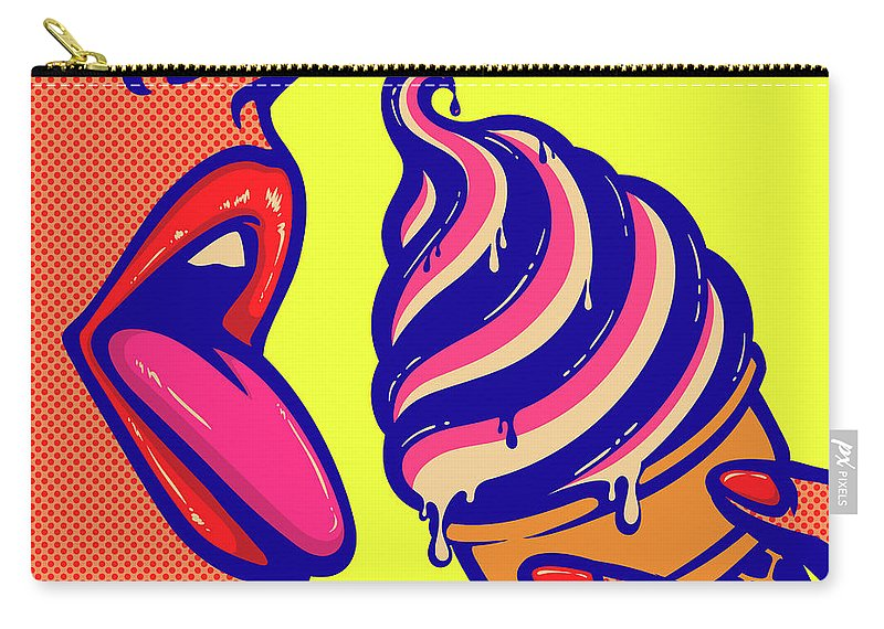 Art Carry-all Pouch featuring the digital art Pop Art Comic Book Mouth Of Woman by Drante