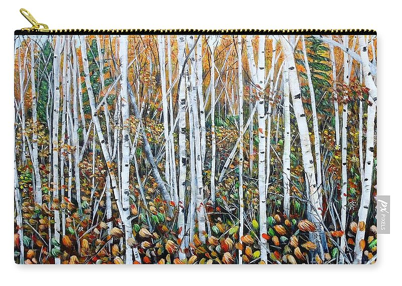 Birch Carry-all Pouch featuring the painting Poplar Art by Marilyn McNish