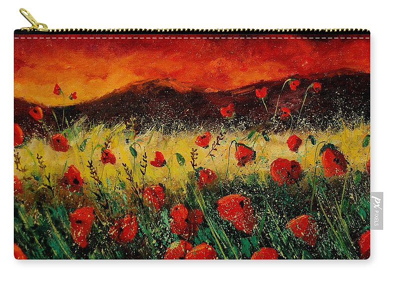 Poppies Carry-all Pouch featuring the painting Poppies 68 by Pol Ledent