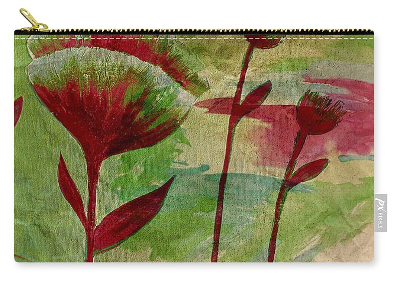 Poppies Abstract Carry-all Pouch featuring the painting Poppies Abstract 3 by Barbara Griffin