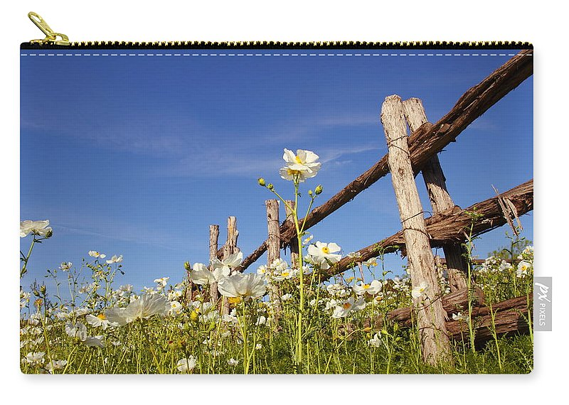 Country Carry-all Pouch featuring the photograph Poppies And Fence 2am-110209 by Andrew McInnes