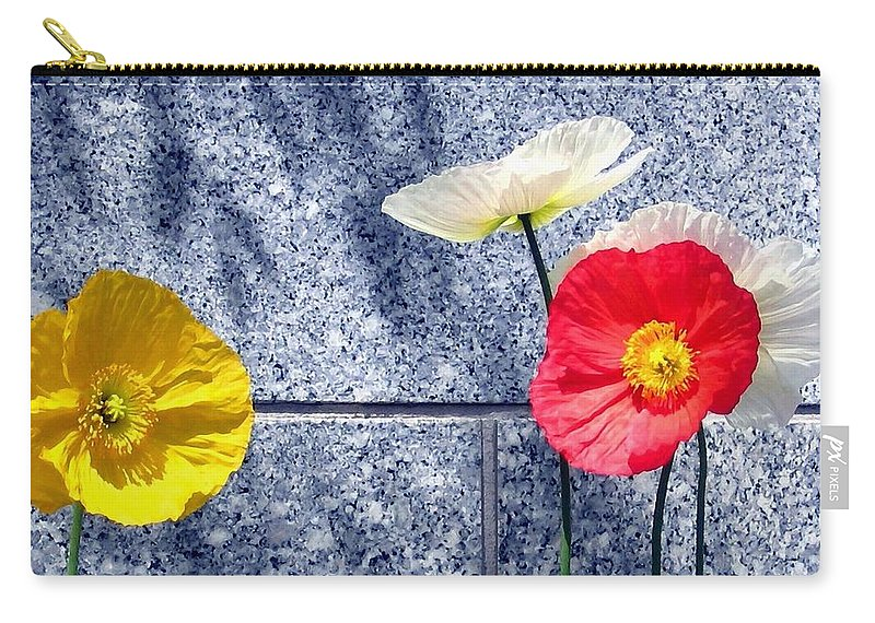 Poppies And Granite Carry-all Pouch featuring the digital art Poppies And Granite by Will Borden