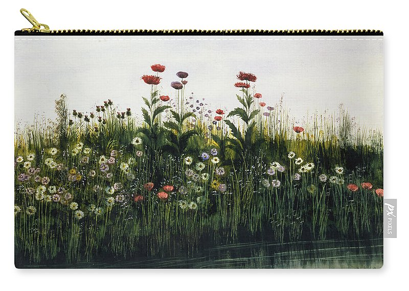 Wild Flowers Carry-all Pouch featuring the drawing Poppies, Daisies And Thistles by Andrew Nicholl