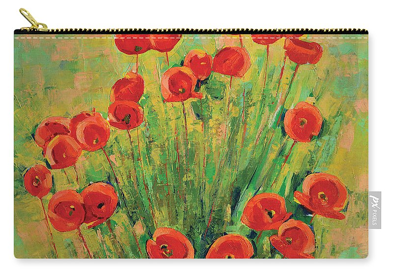 Poppies Carry-all Pouch featuring the painting Poppies by Iliyan Bozhanov