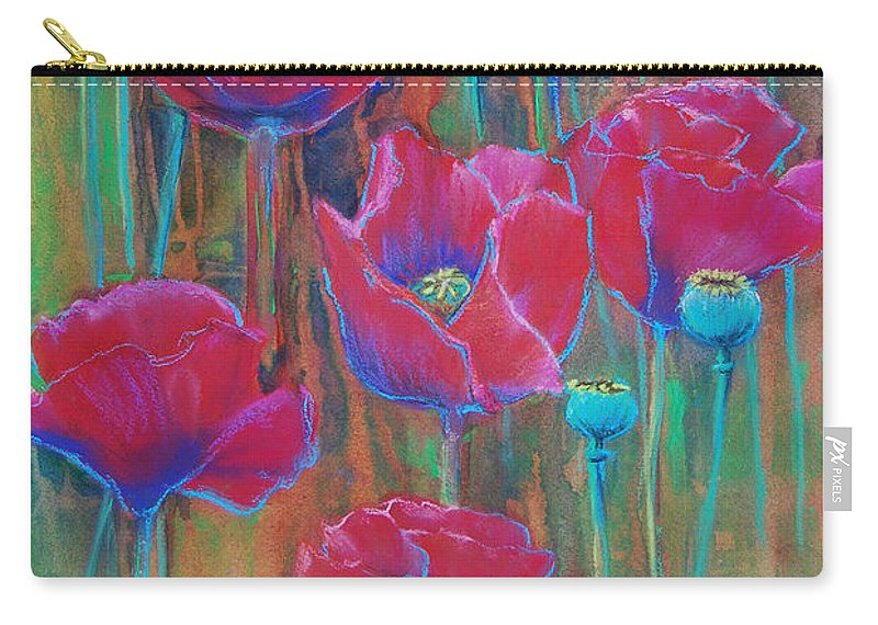 Flowers Carry-all Pouch featuring the painting Poppies by Jani Freimann