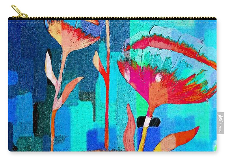 Poppies On Blue 1 Carry-all Pouch featuring the painting Poppies On Blue 1 by Barbara Griffin