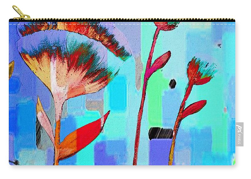 Poppies On Blue 3 Carry-all Pouch featuring the painting Poppies On Blue 3 by Barbara Griffin