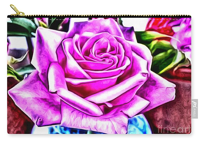Poppin Purple Rose Carry-all Pouch featuring the painting Poppin Purple Rose by Catherine Lott