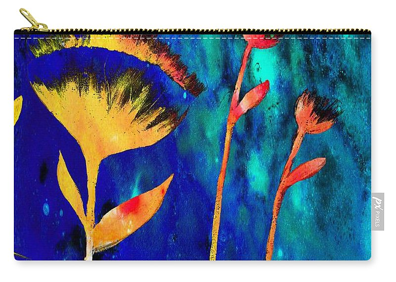 Poppy At Night Abstract Carry-all Pouch featuring the painting Poppy At Night Abstract 3 by Barbara Griffin