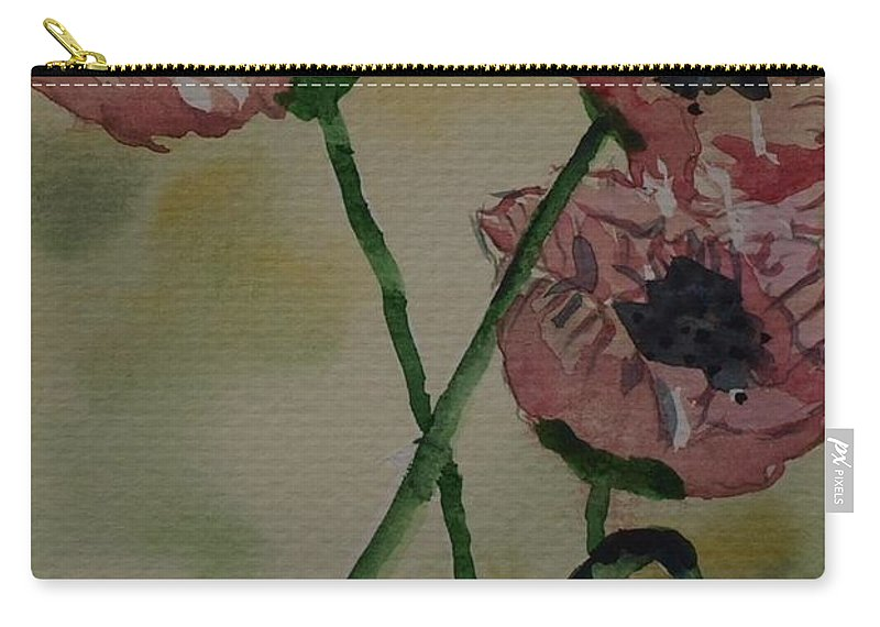 Irish Carry-all Pouch featuring the painting Poppy Breeze A by Corina Hogan