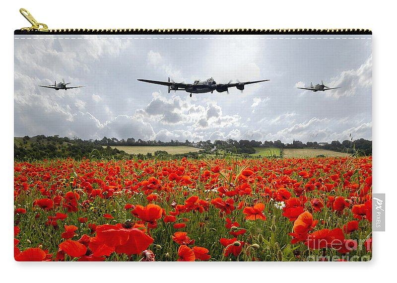Lancaster Bomber Carry-all Pouch featuring the digital art Poppy Fly Past by J Biggadike