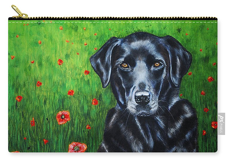 Black Carry-all Pouch featuring the painting Poppy - Labrador Dog In Poppy Flower Field by Michelle Wrighton