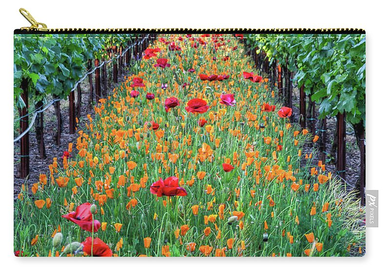Tranquility Carry-all Pouch featuring the photograph Poppy Lined Vineyard by Rmb Images / Photography By Robert Bowman