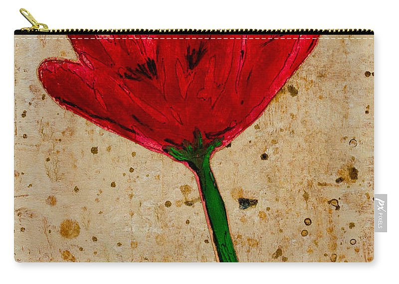 Brown Carry-all Pouch featuring the painting Poppy by Stefanie Forck